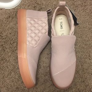 TOMS blush colored slip ons